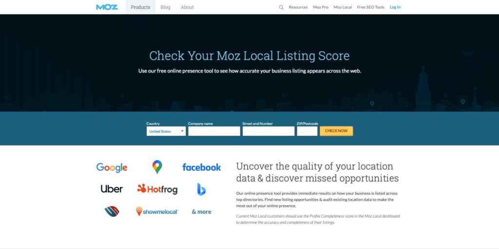 Moz Local Listing Score Website